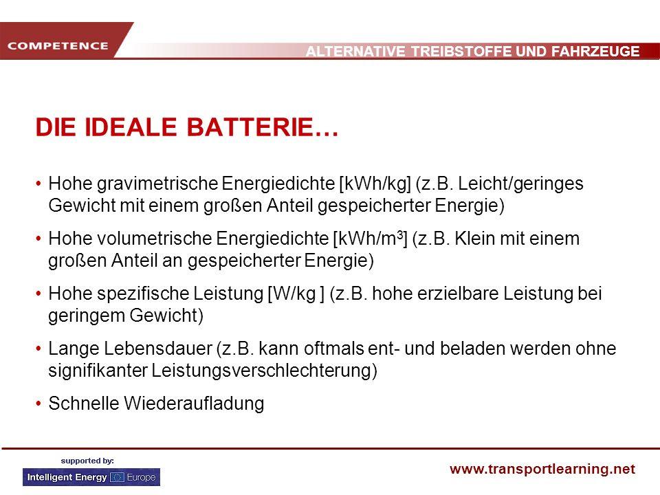 DIE IDEALE BATTERIE… Hohe gravimetrische Energiedichte [kWh/kg] (z.B. Leicht/geringes Gewicht mit einem großen Anteil gespeicherter Energie)